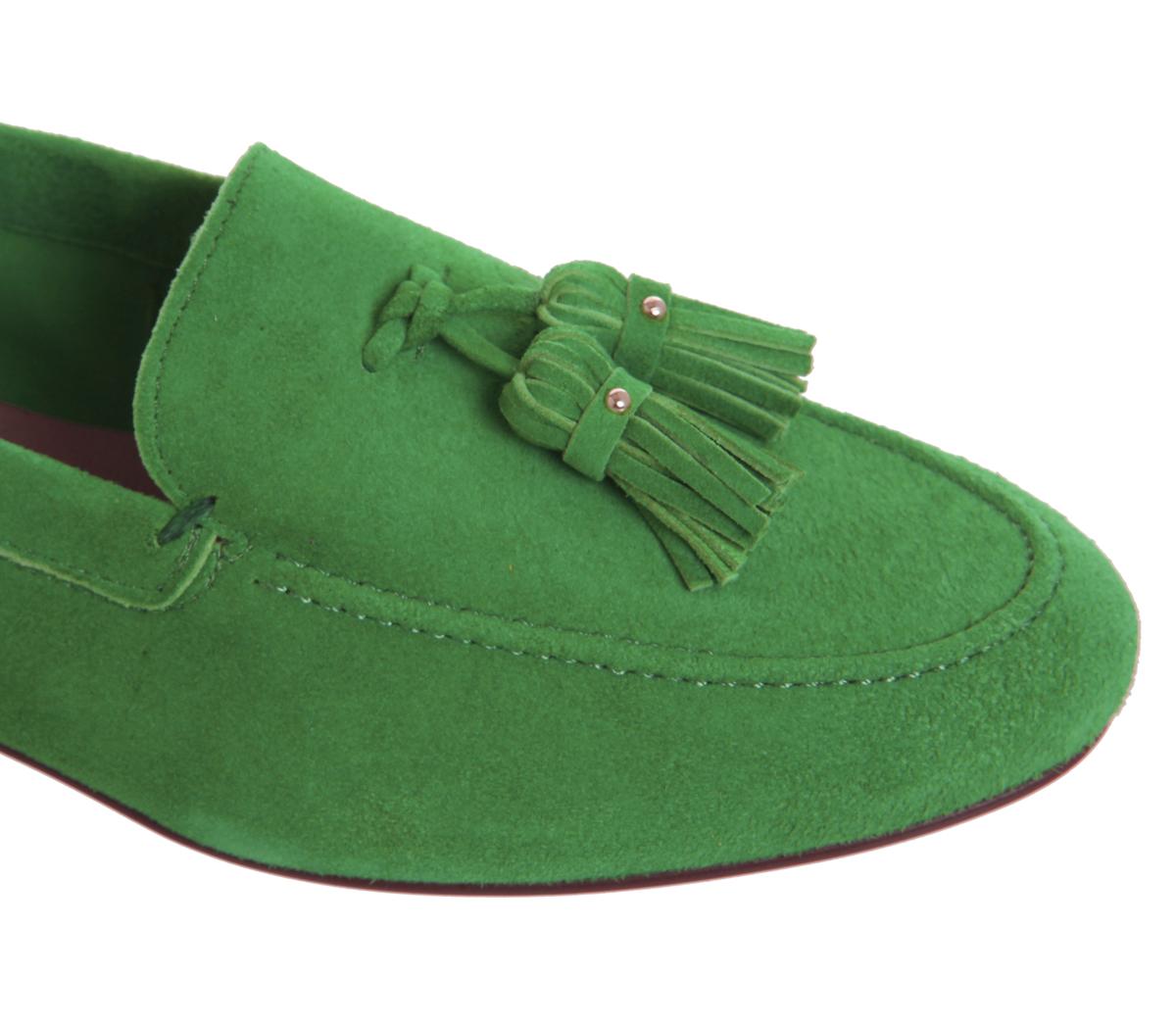 Womens Office Office Office Retro Tassel Loafers GREEN SUEDE Flats b89b17