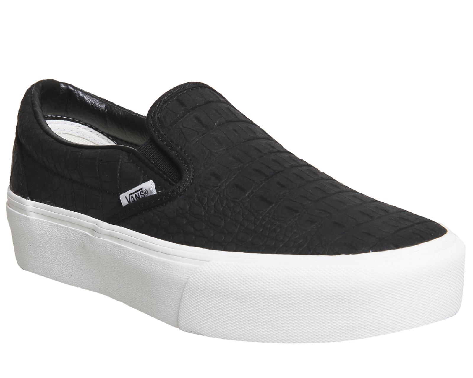 8eab715db552 Sentinel Womens Vans Slip On Platform Trainers EMBOSSED BLACK WHITE Trainers  Shoes