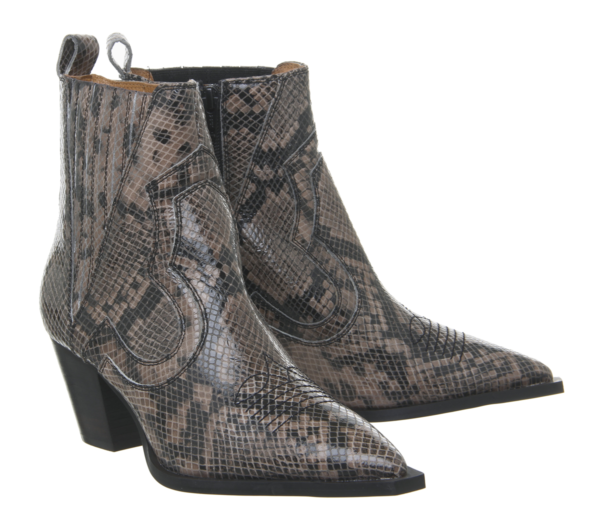 2e60ebe756 Sentinel Womens Office Ayla Western Block Heel Boots Snake Leather Boots