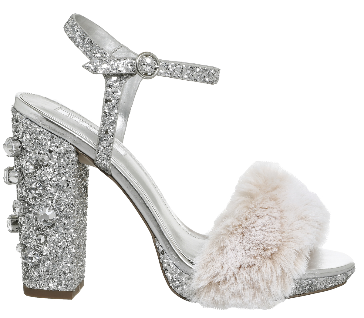 7fe2d1237ec Womens Office Hyper Platform Fluff Sandals Silver Glitter Nude Fluff ...