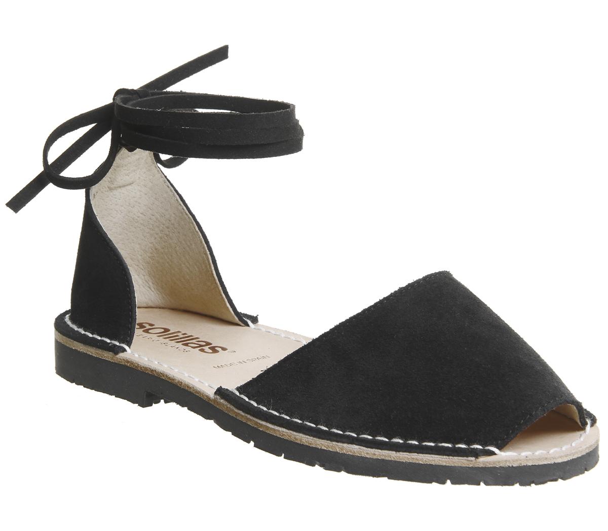 Damenschuhe Damenschuhe Damenschuhe Solillas Ankle Tie Sandales BLACK SUEDE Sandales a5f4b8
