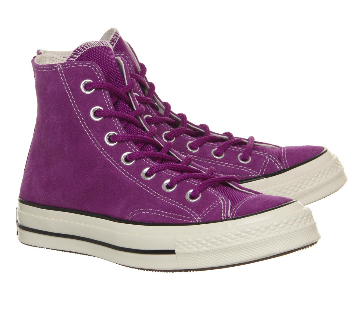 7fe8974a8 Para Hombre Converse Star Hi años 70 entrenadores icono All Violeta ...