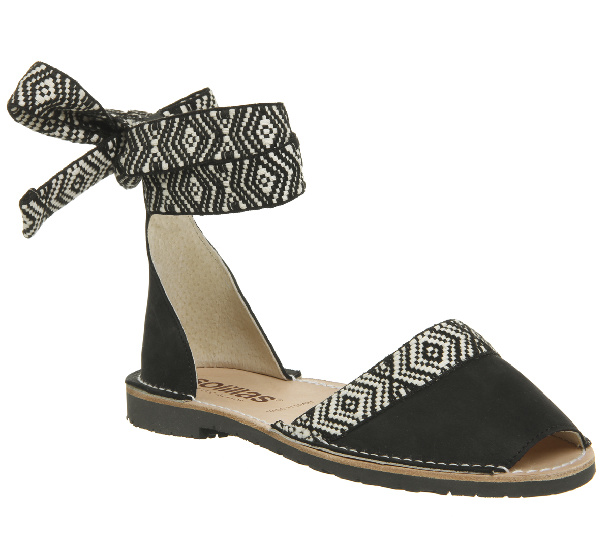 fc25d78fa85a Sentinel Womens Solillas Solillas Wrap Tie Sandals Black White Sandals