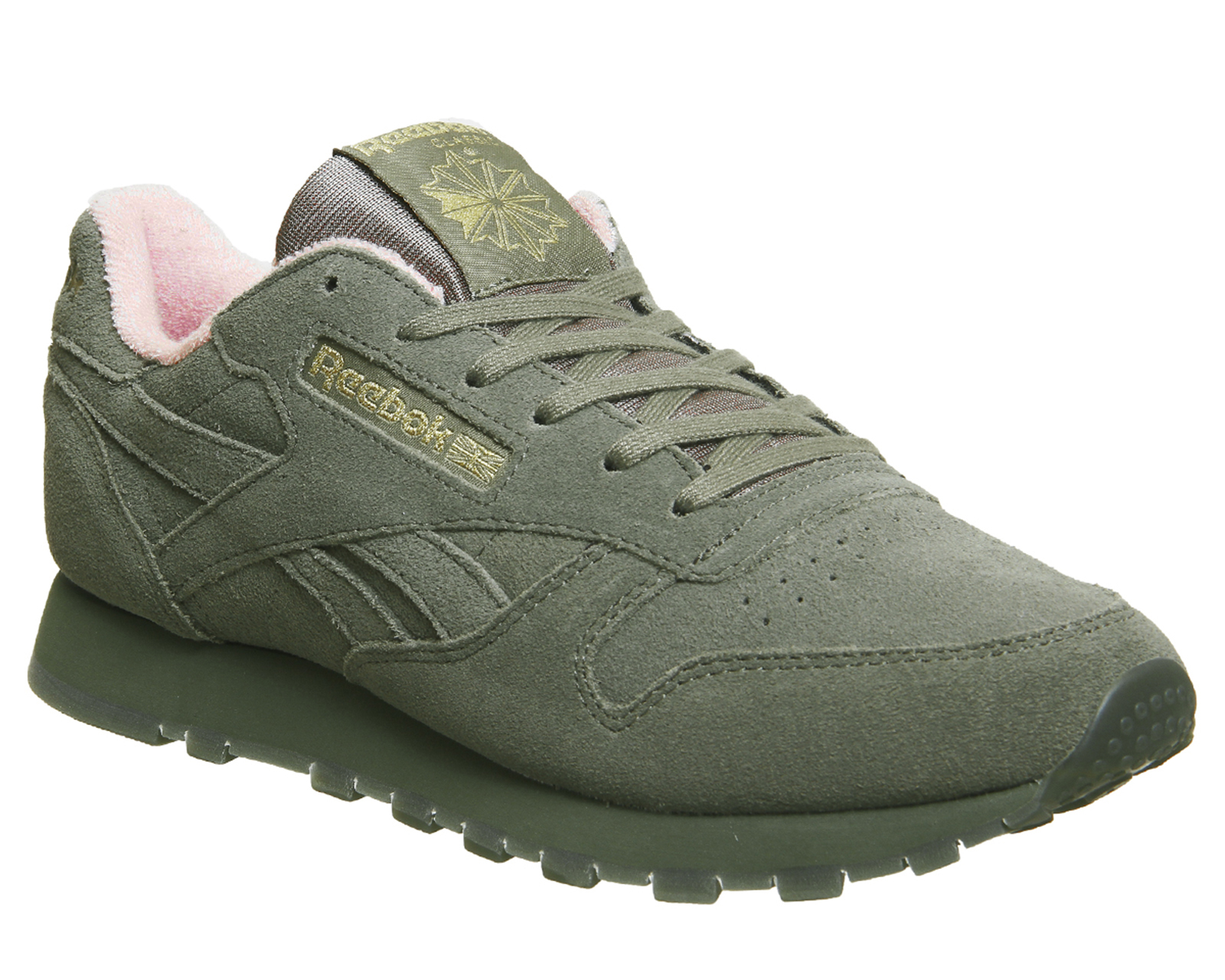 4973be2eef157 Sentinel Womens Reebok Cl Leather Trainers Hunter Green Pink Trainers Shoes