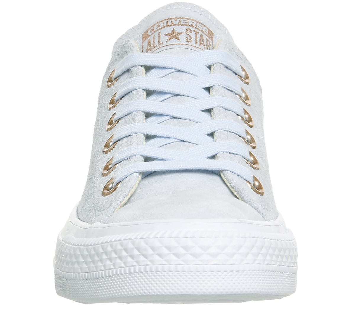 0c523ada3a0c Womens Converse All Star Low Leather BLUE TINT BLUSH GOLD WHITE Trainers  Shoes