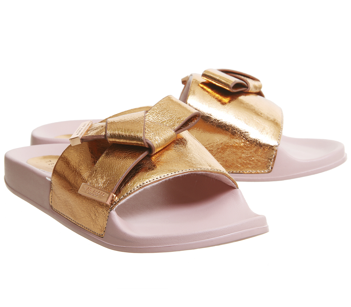 3a67a6912 Womens Ted Baker Melvah Bow Slides ROSE GOLD LEATHER Sandals