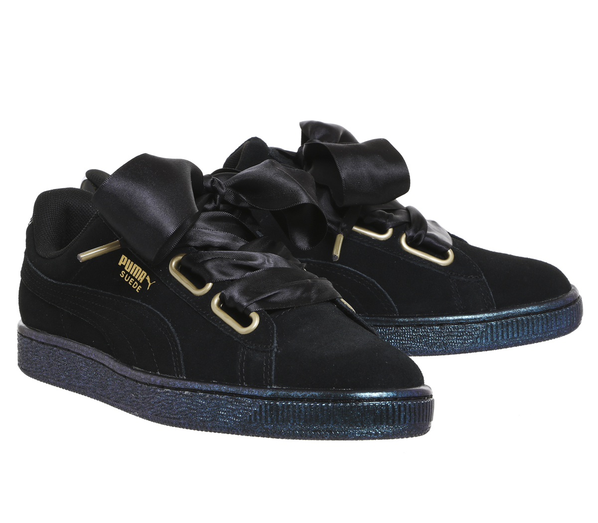 24b3f9f73c53 Womens Puma Suede Heart PUMA BLACK SATIN Trainers Shoes