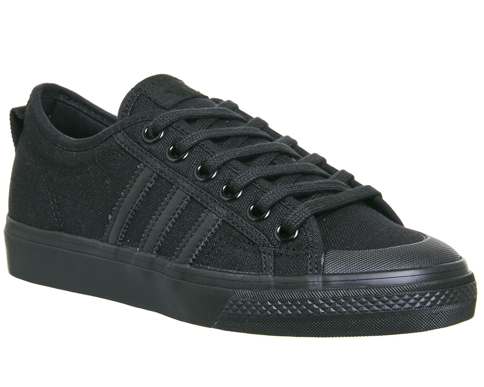 Mens Adidas Nizza Trainers BLACK MONO Trainers Schuhes