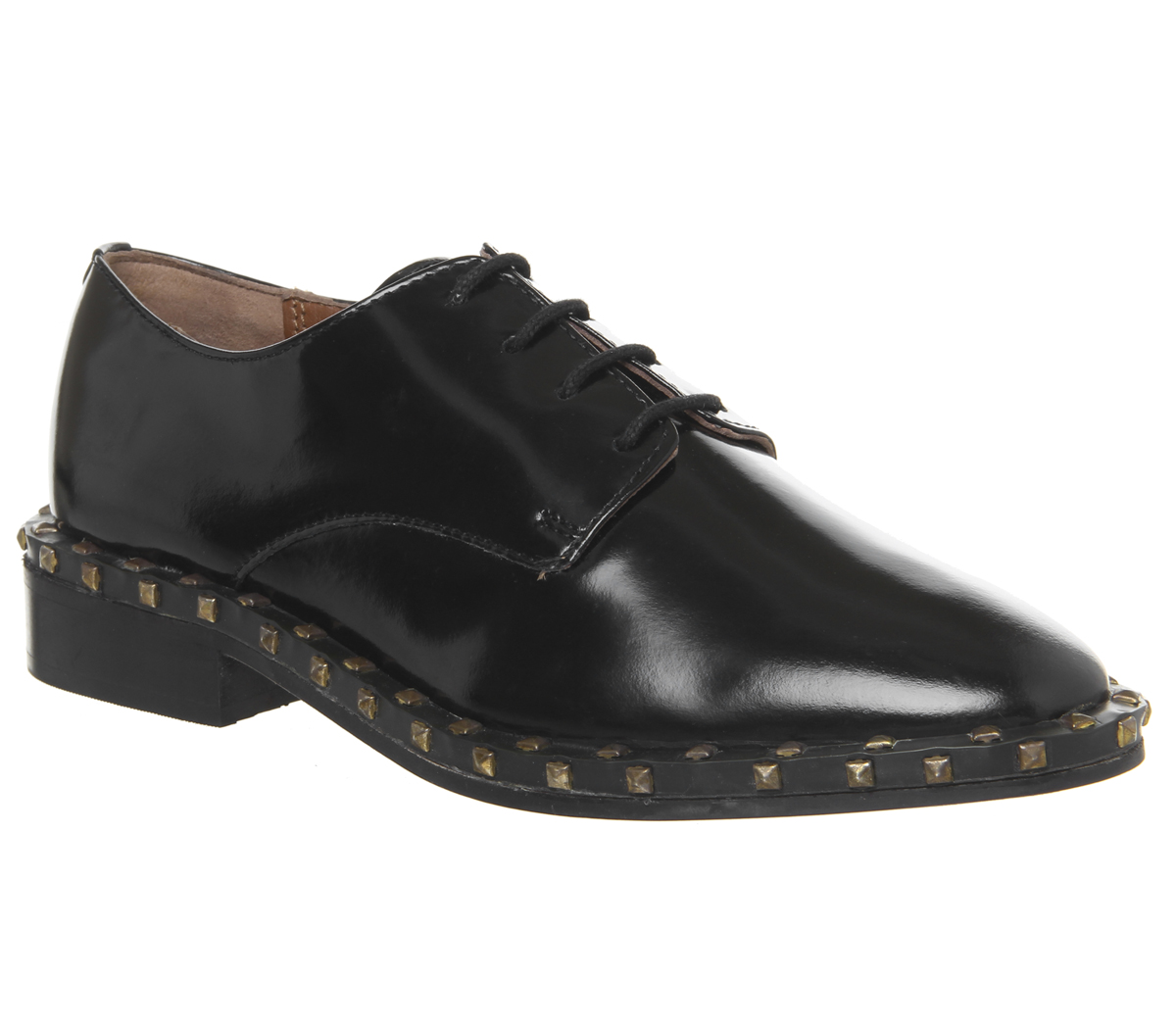 Damenschuhe Office Freefall Studded Lace Up Flats BLACK BOX LEATHER Flats Flats LEATHER afa8b2