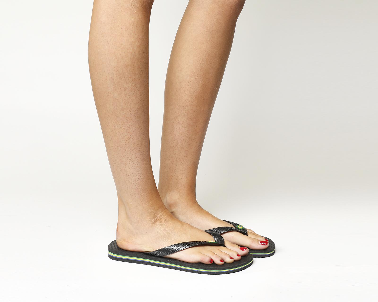 fe1a038af Sentinel Womens Havaianas Brazil Flip-Flop Black Rubber Sandals