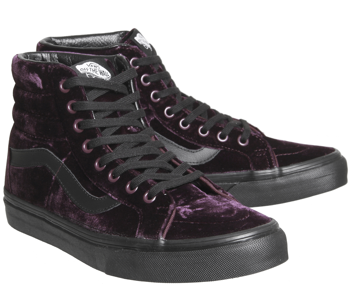7edabd2293 Womens Vans Sk8 Hi Reissue VELVET BURGUNDY BLACK Trainers Shoes