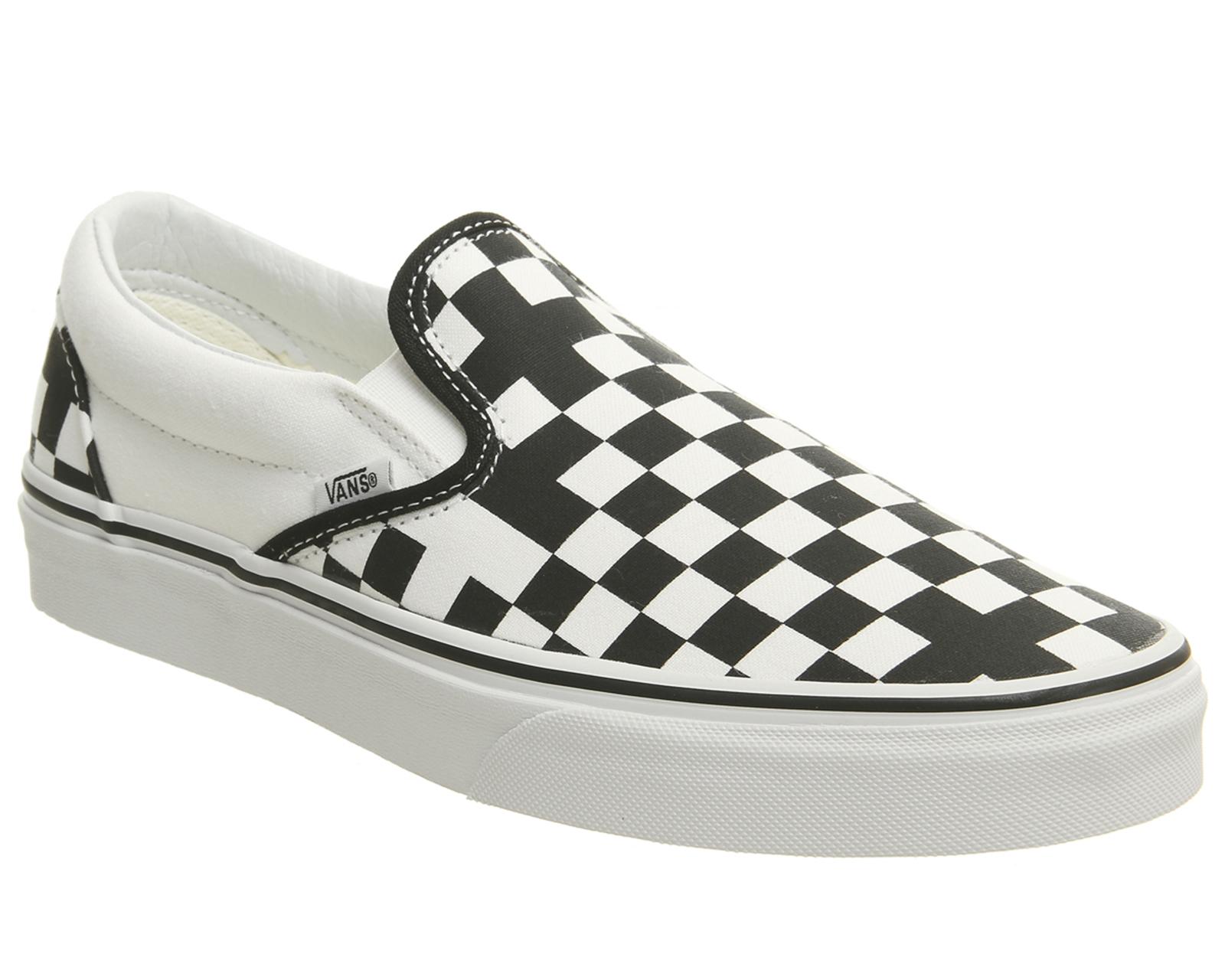3dffc6daf CENTINELA Hombres Vans Vans Classic Slip en Tra exclusivo blanco de  verdadero negro geométrica entrenadores