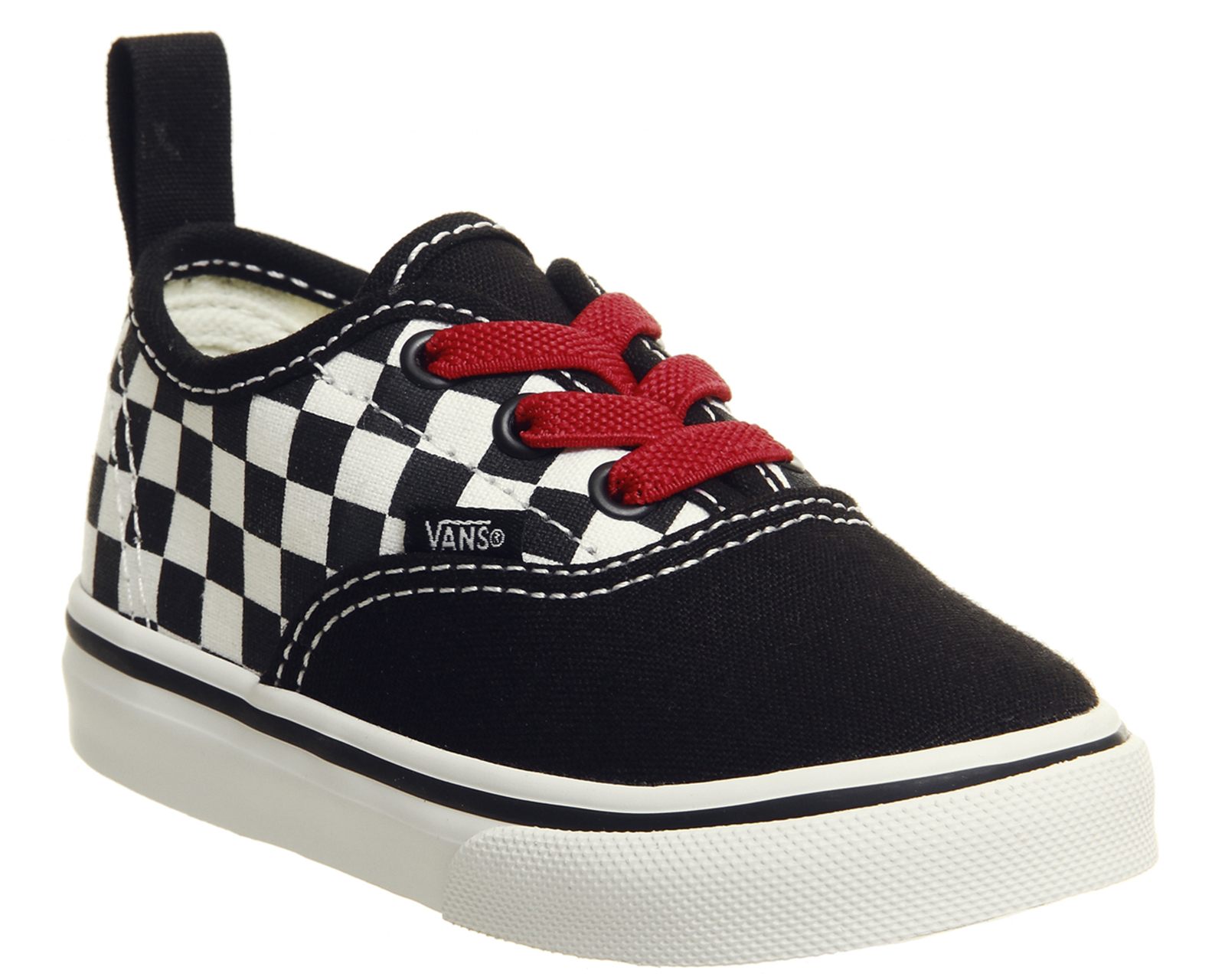 644e3c1a1f7349 Sentinel Kids Vans Authentic Toddlers Trainers Black Red True White  Checkerboard Kids