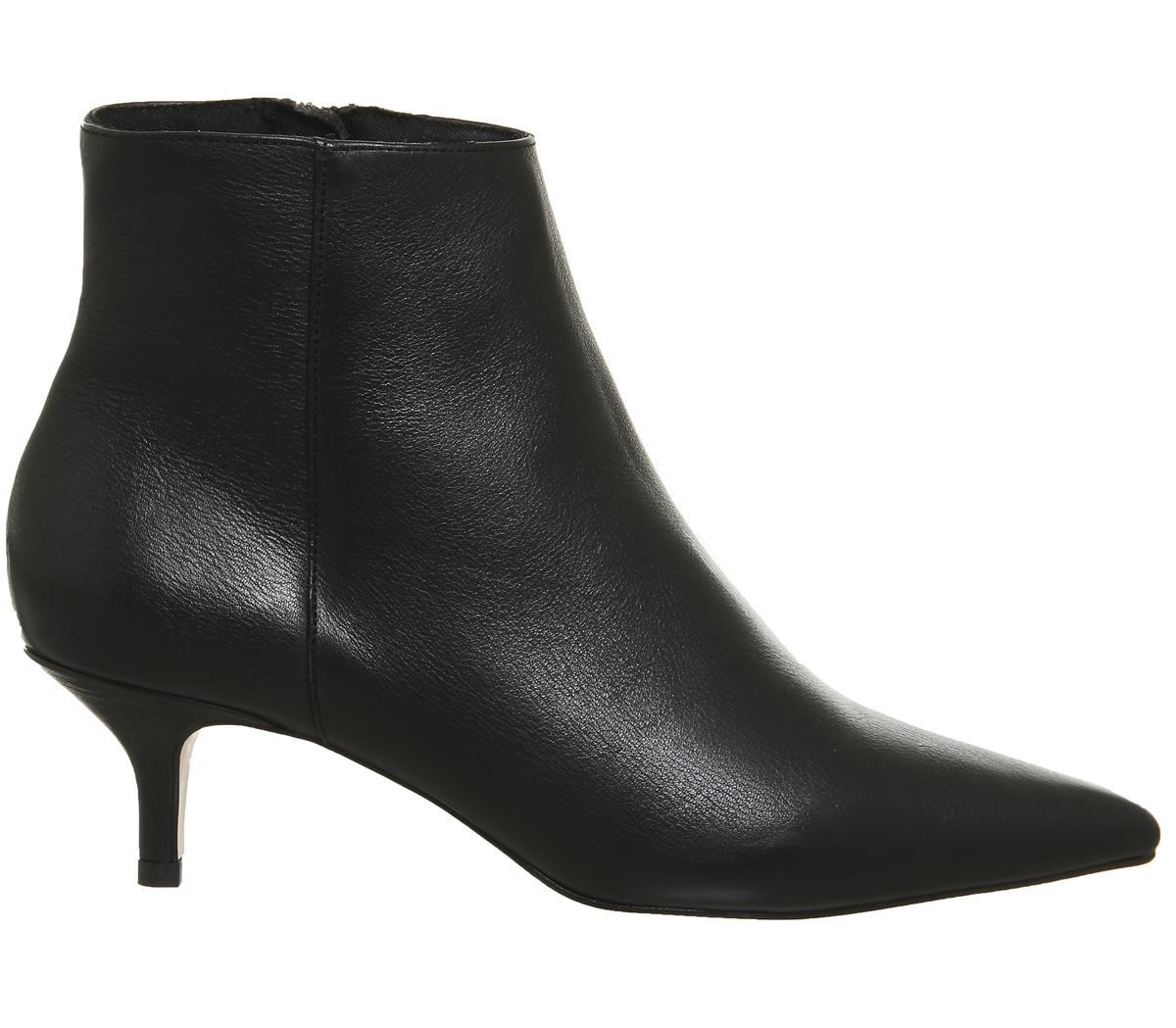 Womens OFFICE Alibi Kitten Heel BOOTS Black Leather BOOTS UK 4 | eBay