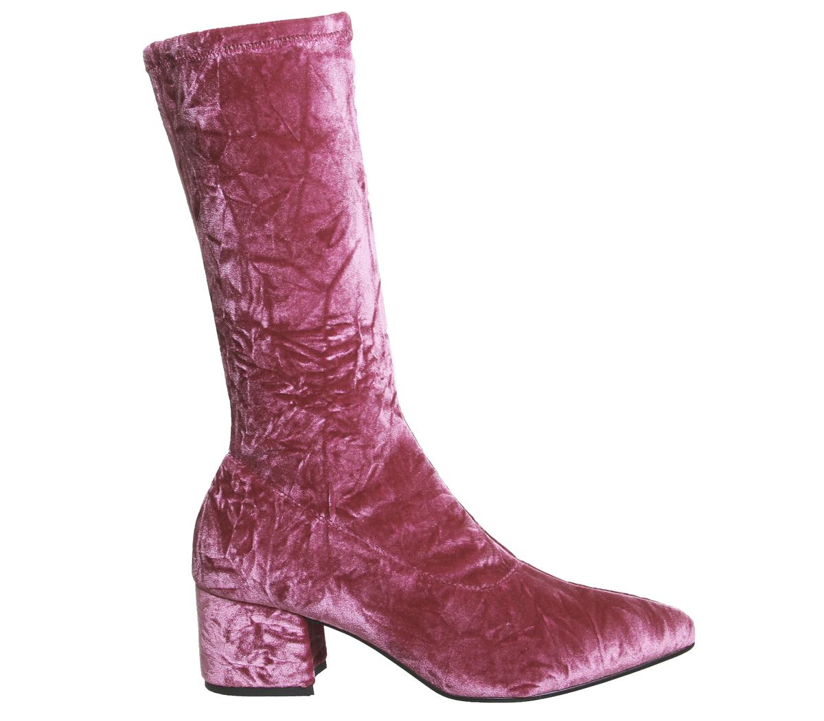 d3f40f1eacab Sentinel Womens Vagabond Mya Tall Boots Pink Velvet Boots. Sentinel  Thumbnail 3