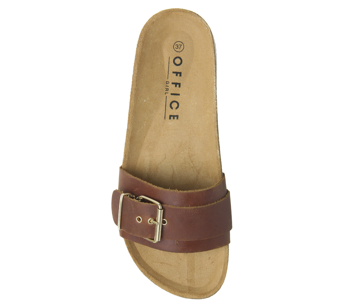 Womens-Office-Stereo-Buckle-Footbed-Sandals-Tan-Leather-Sandals thumbnail 8