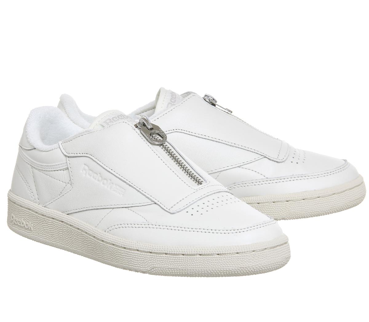 d3eec93fb130 Womens Reebok Club C 85 Zip Chalk Sandstone Trainers Shoes
