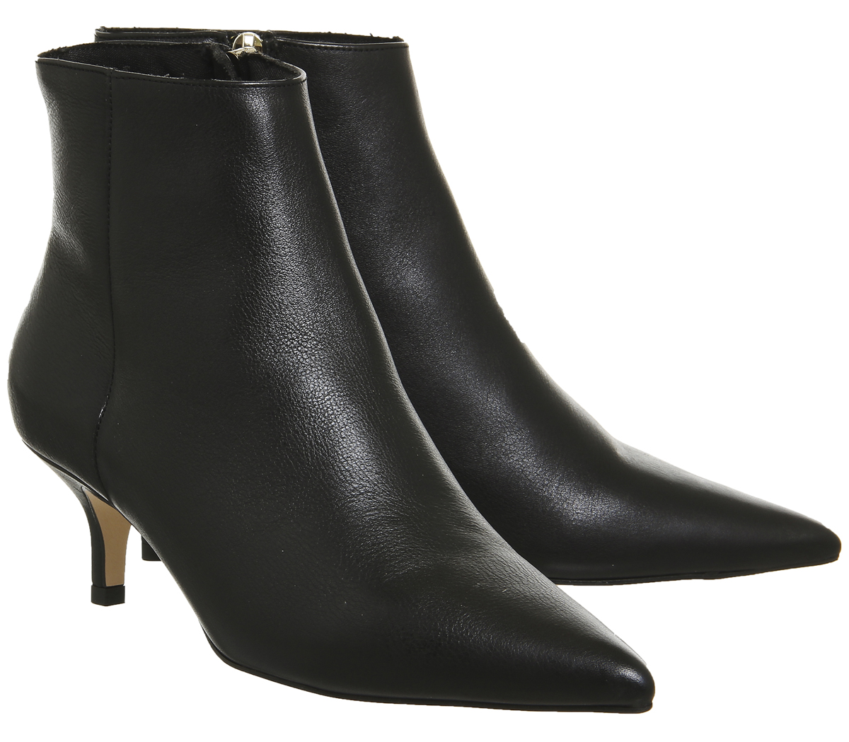 Womens OFFICE Alibi Kitten Heel BOOTS Black Leather BOOTS UK 6 | eBay