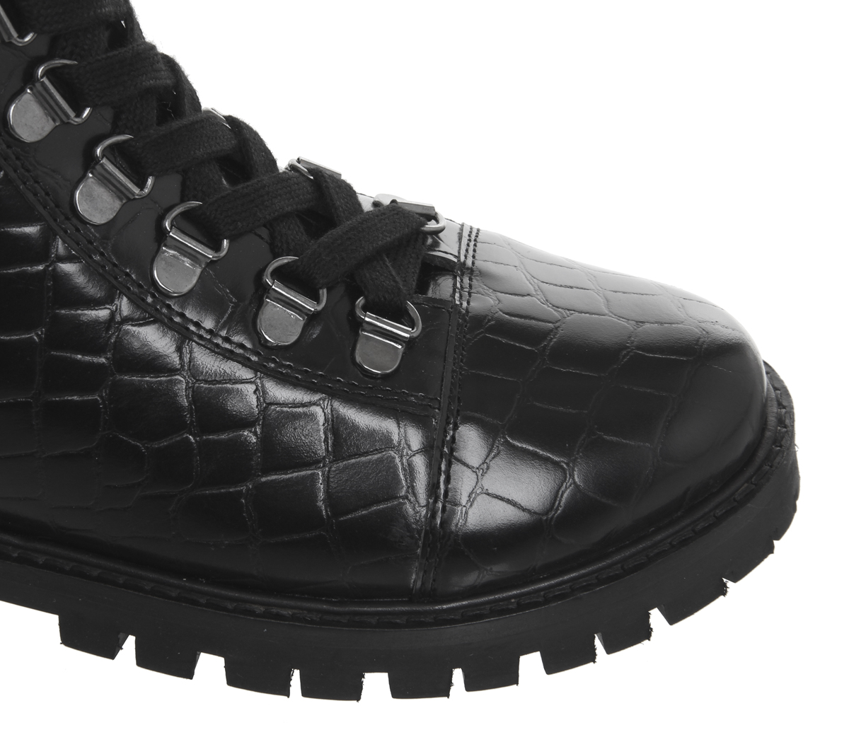Womens Hiker Ansel Black Boots Croc Up Lace Office Leather rfrqxnp