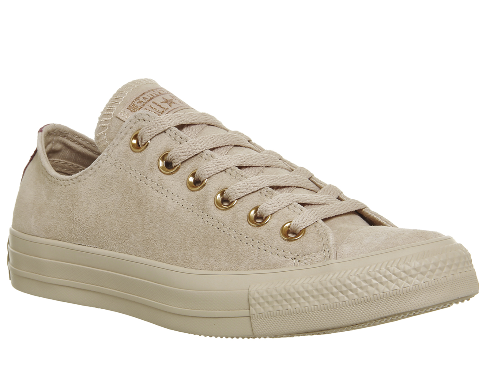 76f7918d4d5d26 Sentinel Womens Converse All Star Low Leather Bio Beige Vintage Wine Trainers  Shoes