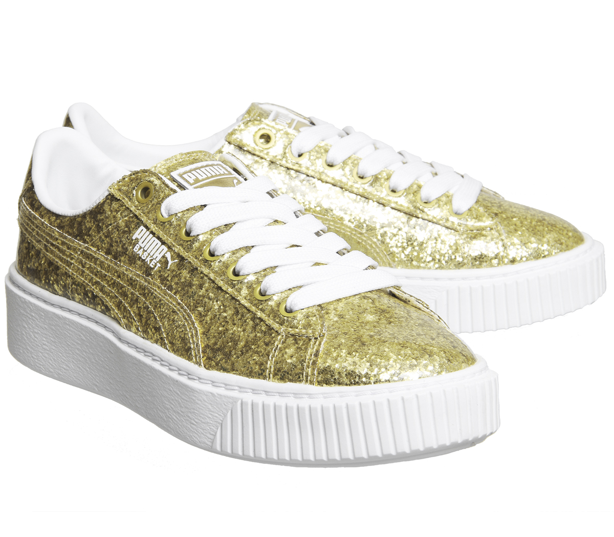 1eea30a52509b Womens Puma Basket Platform Trainers Gold Glitter White Trainers ...