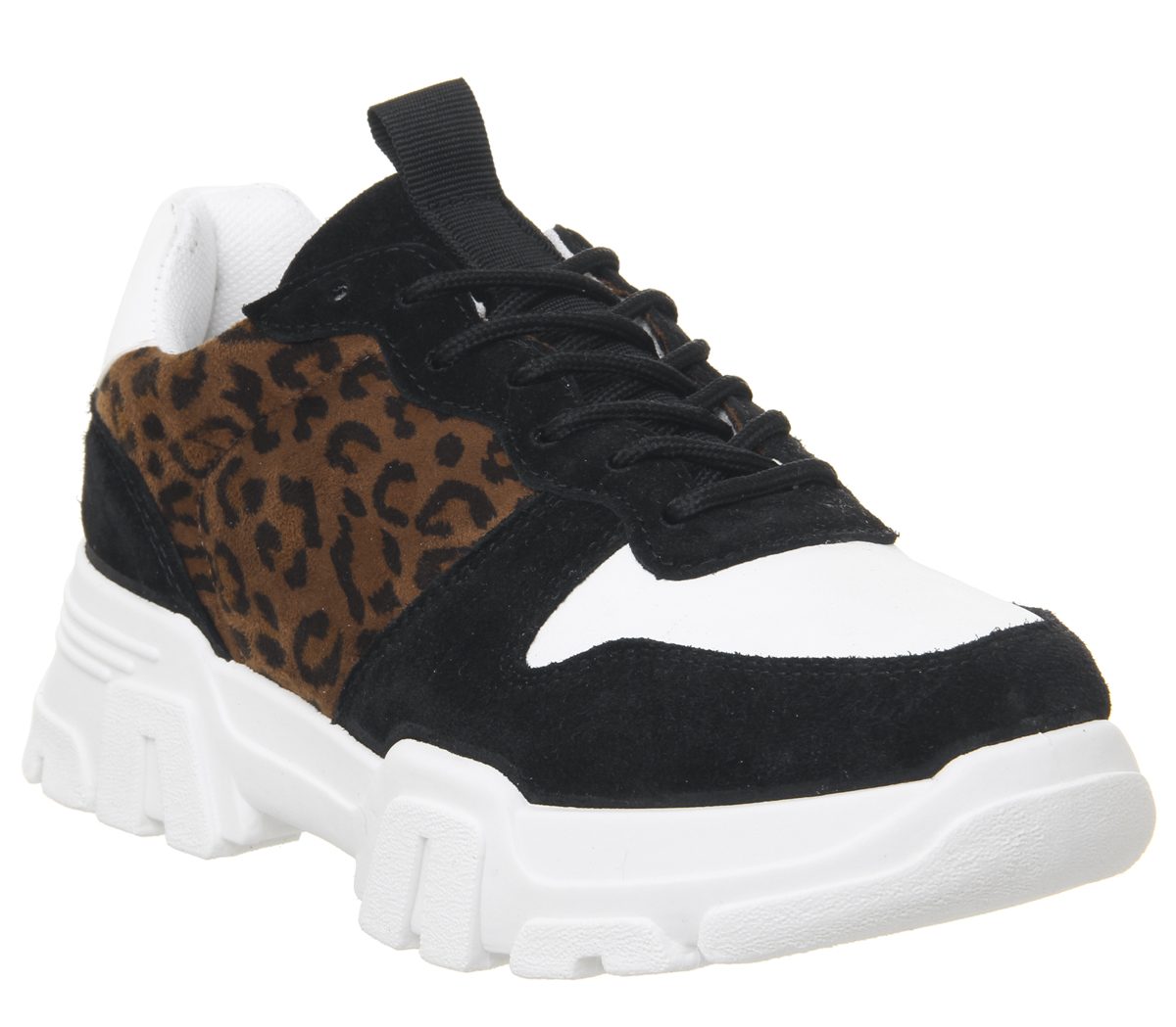 029b52d11 Sentinel Womens Office Fast Pace Chunky Lace Up Trainers Leopard Flats