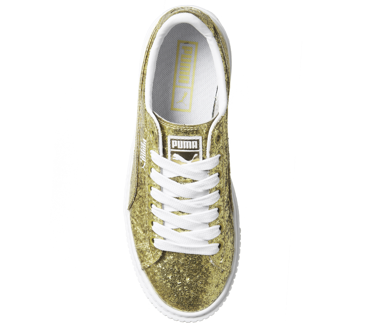 ae0457a0851 Womens Puma Basket Platform Trainers Gold Glitter White Trainers ...