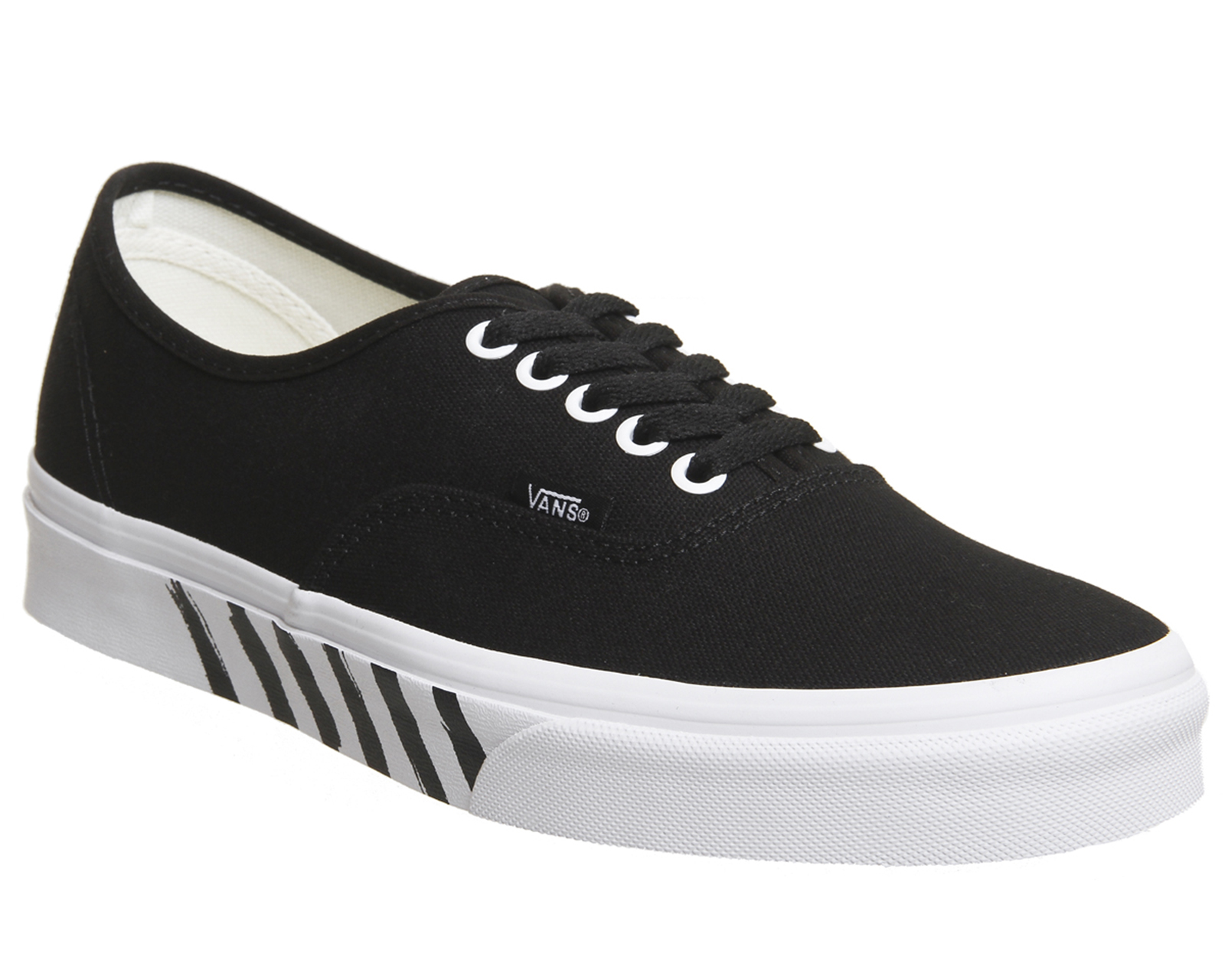 b260f0077f51b4 Sentinel Mens Vans Authentic Trainers Black True White Stripe Trainers Shoes