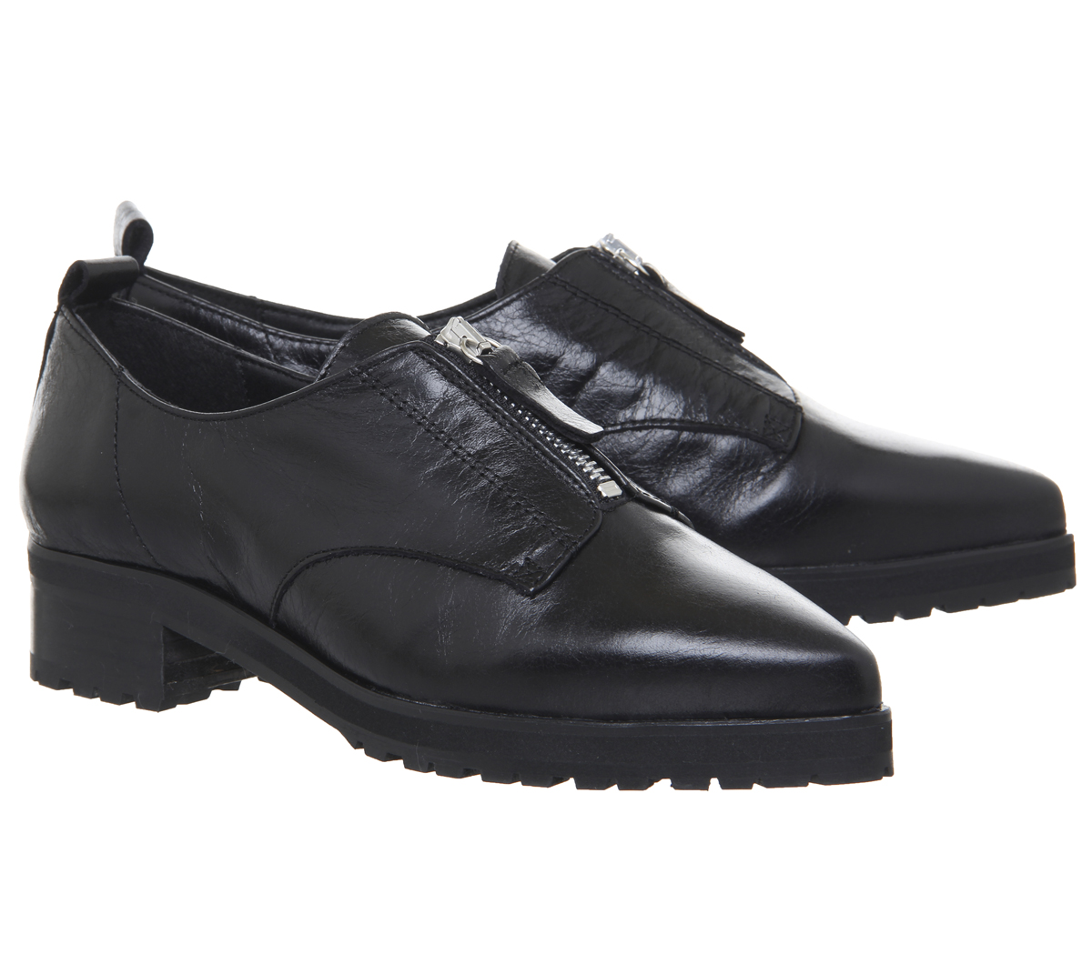 Damenschuhe Office Foster LEATHER Zip Front Cleated Schuhes BLACK LEATHER Foster Flats 5263e9
