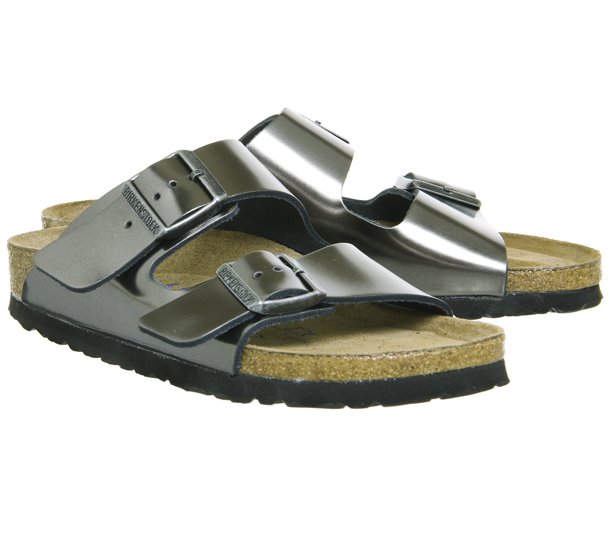 Donna Birkenstock Arizona Due Cinghie Metallizzato Antracite Sandali ... ad838a3ace4