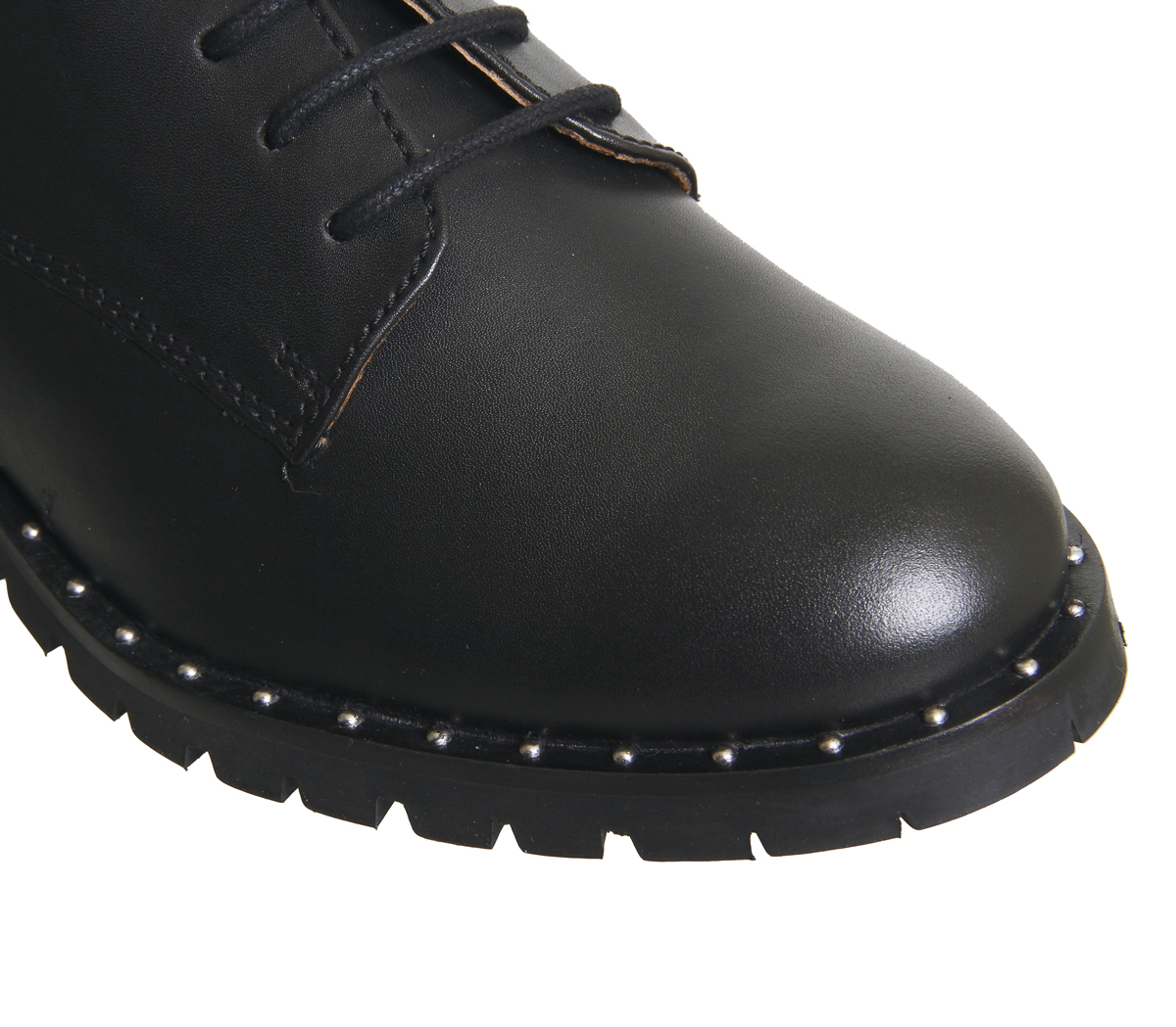 Womens Office Kennedy BLACK Lace Up Shoes  BLACK Kennedy LEATHER W SILVER STUDS Flats 173296