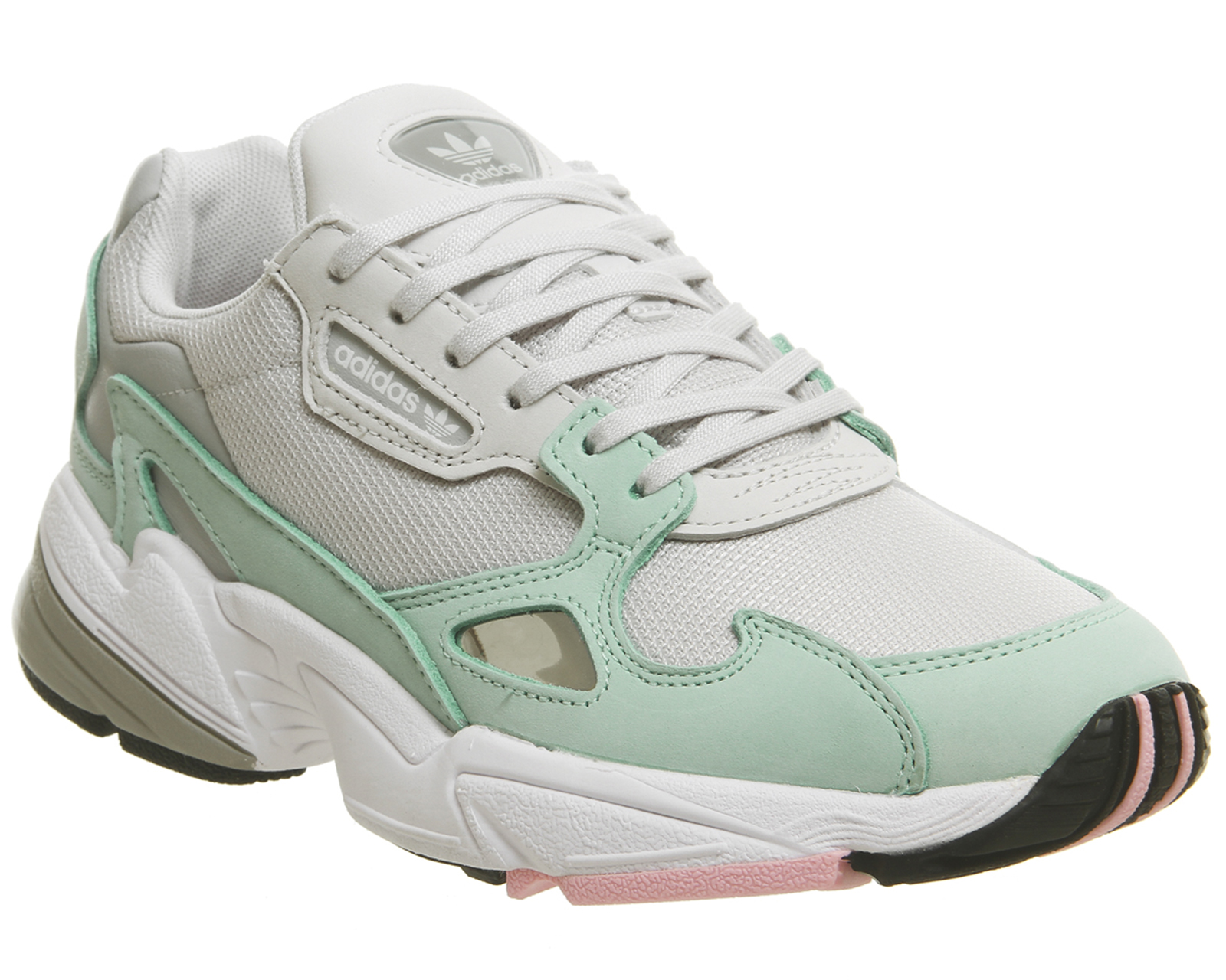 a7302db9a182 Sentinel Womens Adidas Falcon Trainers Grey One Easy Green Trainers Shoes