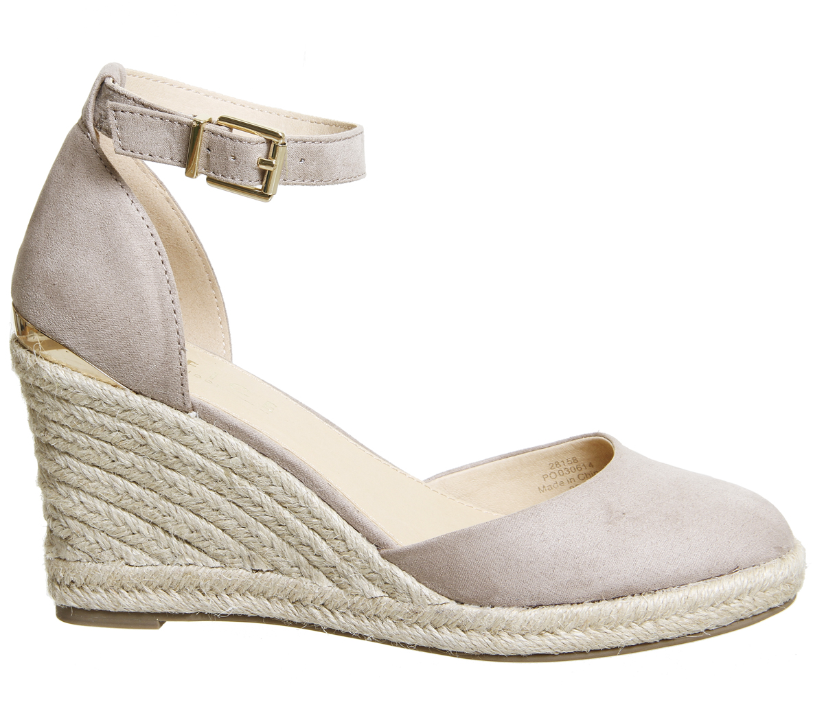 6fbef9b4f03 Details about Womens Office Marsha Closed Toe Espadrille Wedges Taupe With  Gold Heel Clip Heel