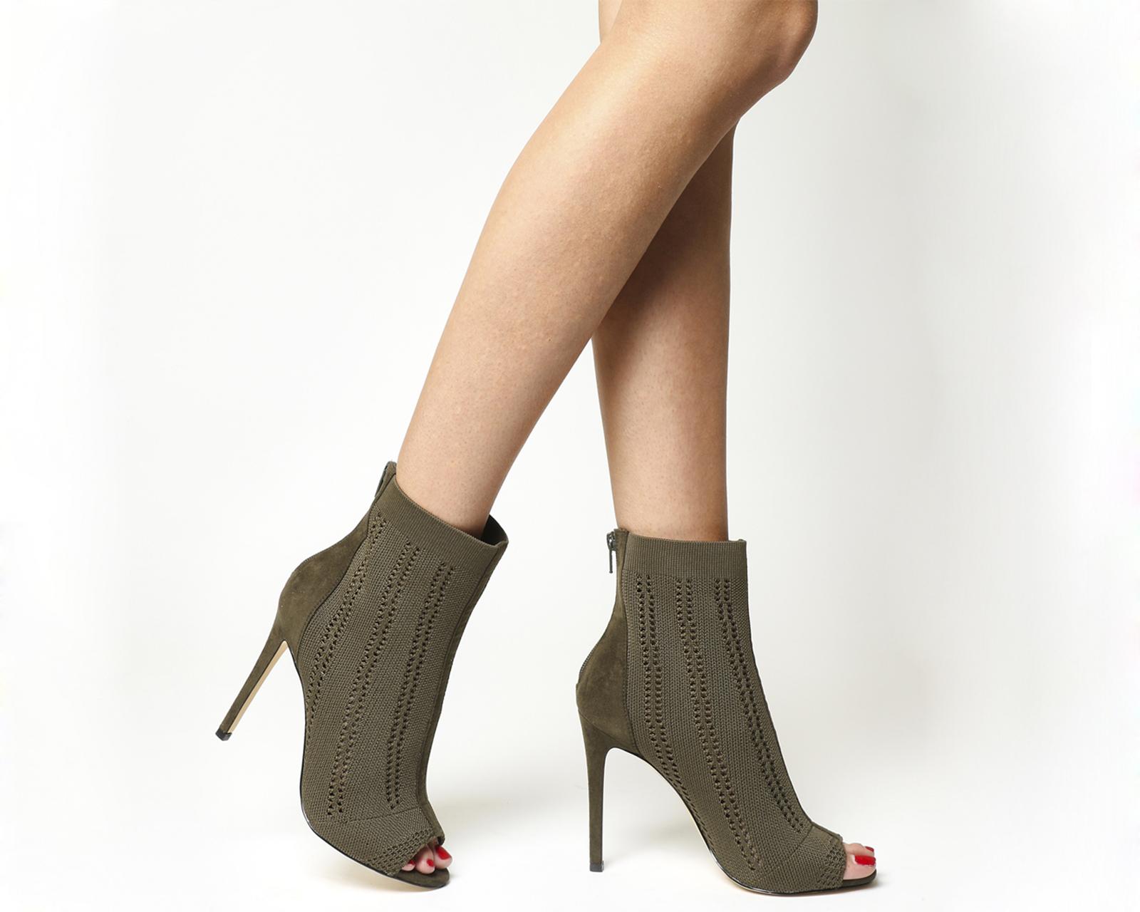 Sentinel Womens Office Lipstick Peep Toe Ankle Boots Khaki Knit Boots 9098224e5f42