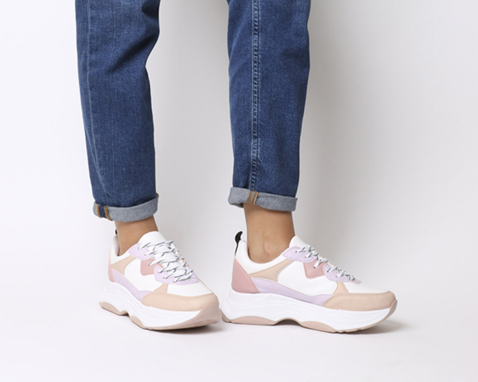 596c30057f204 ... Donna Up Office Fizzled Chunky Lace Up Donna Trainers WHITE NUDE MIX  Trainers Shoes 3e0a87 ...