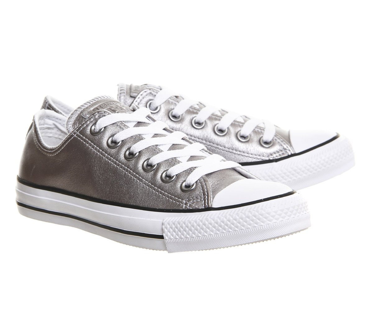 bf61337651ce4f Converse All Star Low Leather New Silver Exclusive Trainers Shoes