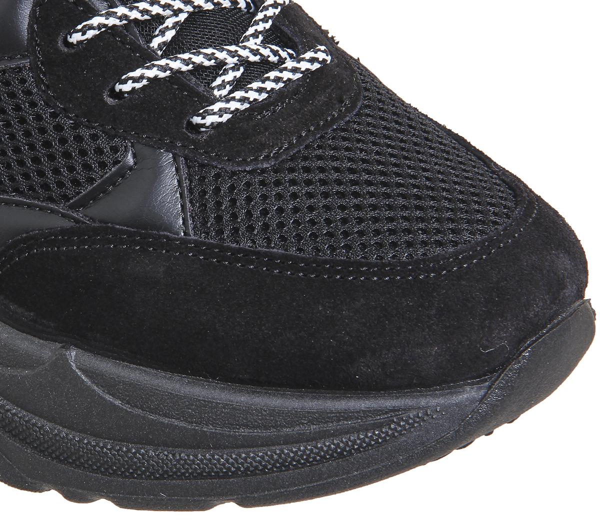 new product 813b0 d9135 ... Para Mujer Zapatillas Con Cordones Oficina quedó Grueso Negro Material  Mix Zapatillas Zapatos ...