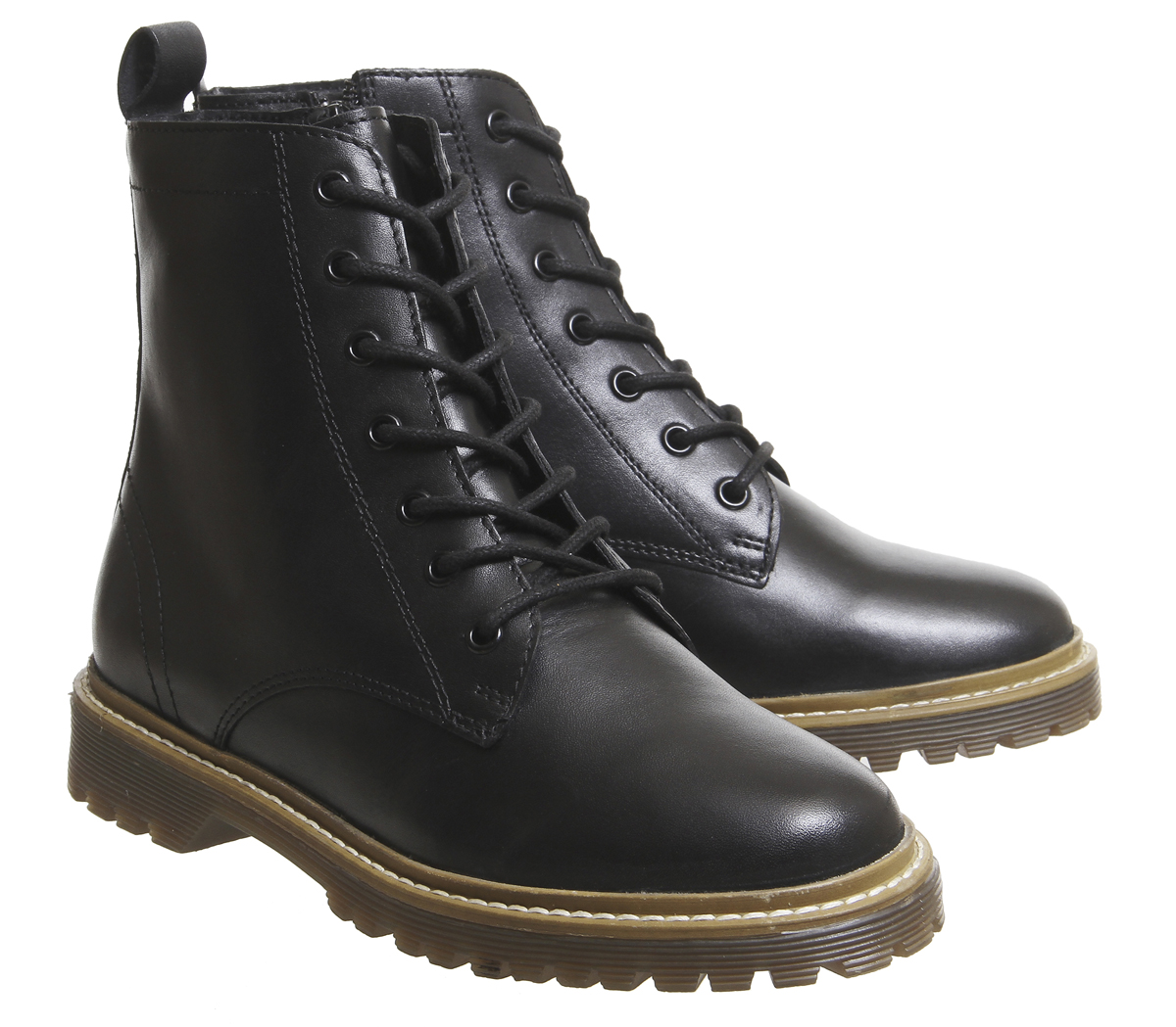 Damenschuhe Office Aston Ribbed LEATHER Sole Lace Up Stiefel BLACK LEATHER Ribbed Stiefel 336fce
