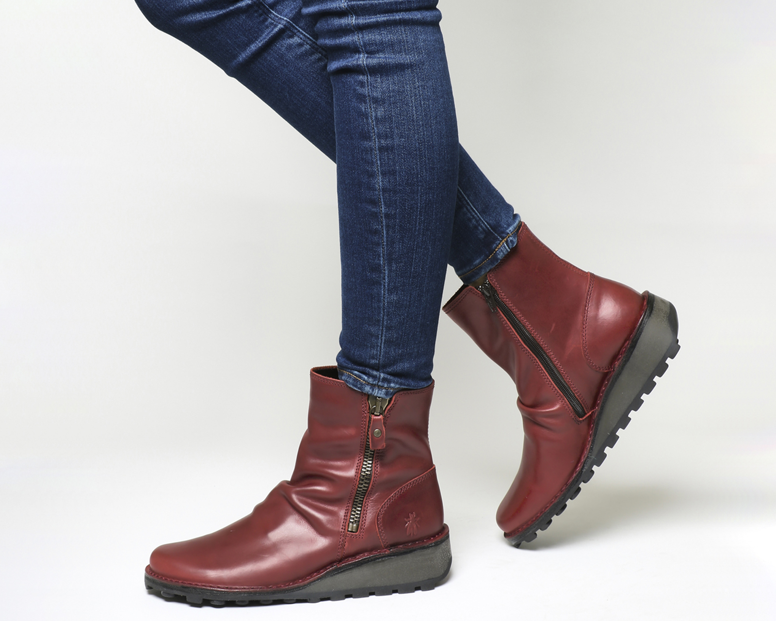70er Retro FLY LONDON SADE rot Ankle Stiefel Stiefeletten