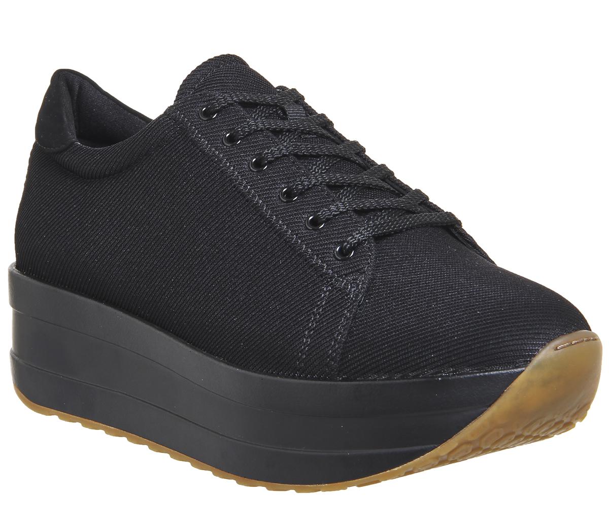 Vagabond Black Sole Casey Womens Trainers Shoes Flatforms Canvas C4Ofx
