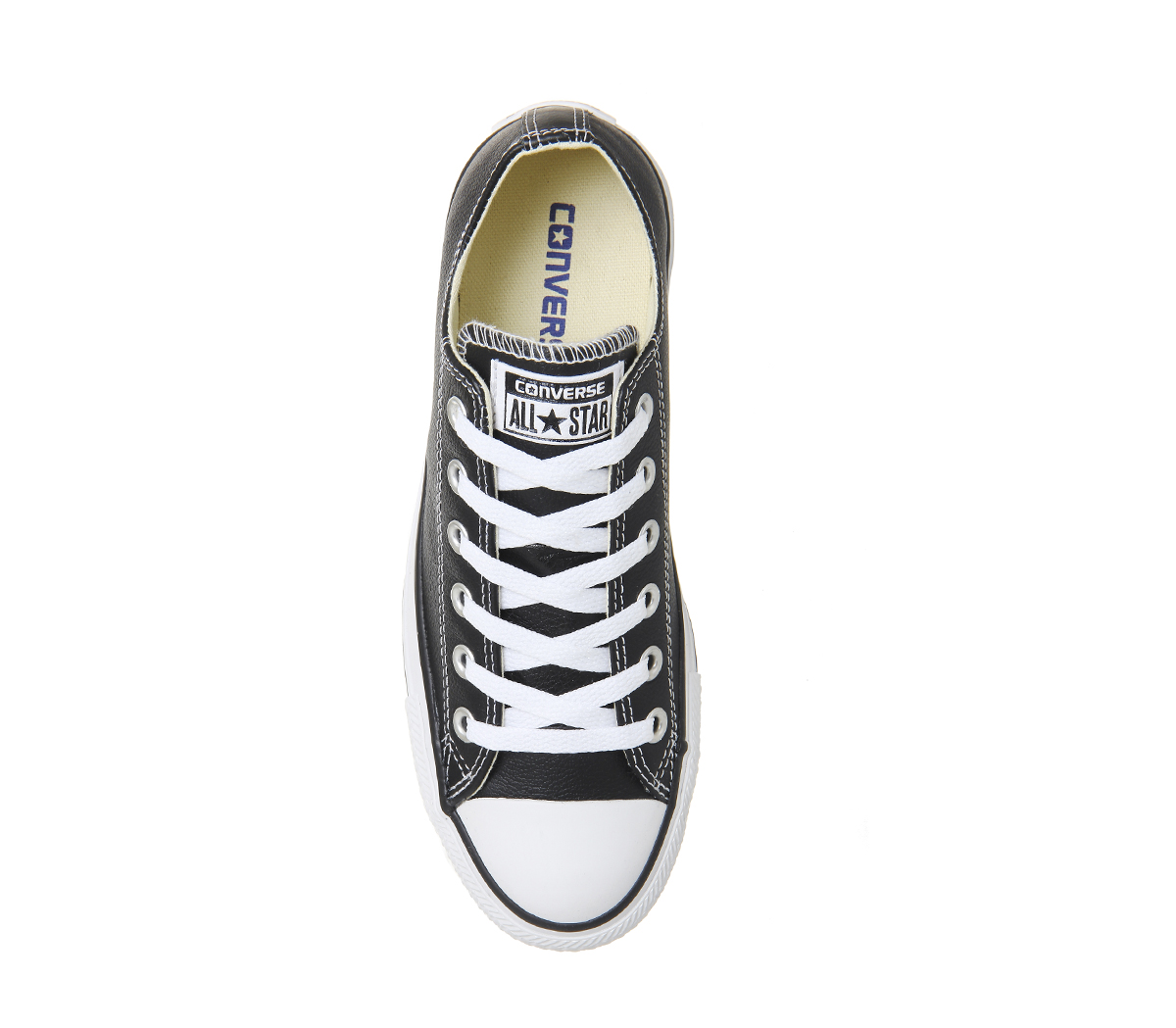 7626683d042 Womens Converse All Star Low Leather Black White Leather Trainers ...