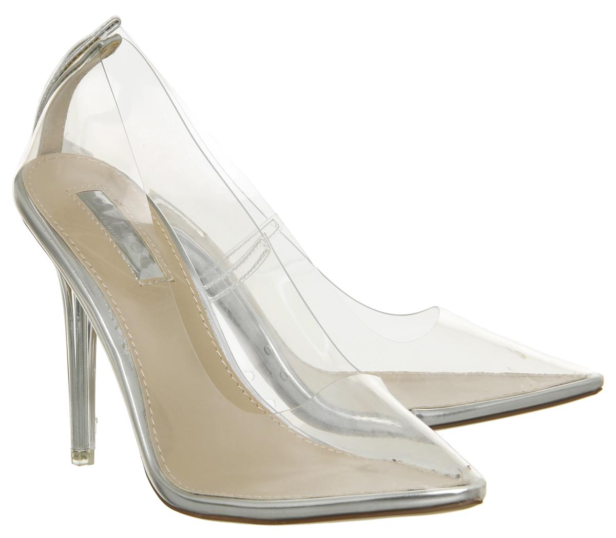82fe9f70922 Womens Office Hadie Transparent Heel Court Shoes Perspex Heels