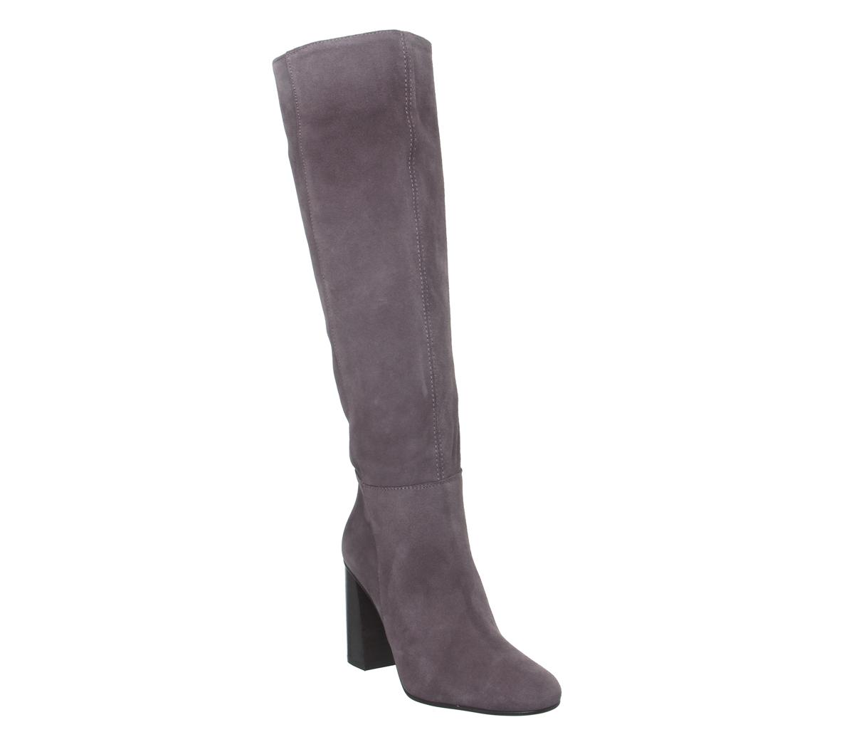Mujer Office Koko sin Cierres Cierres Cierres Tacón en Bloque botas ante gris Brillante Choc de 47ed20