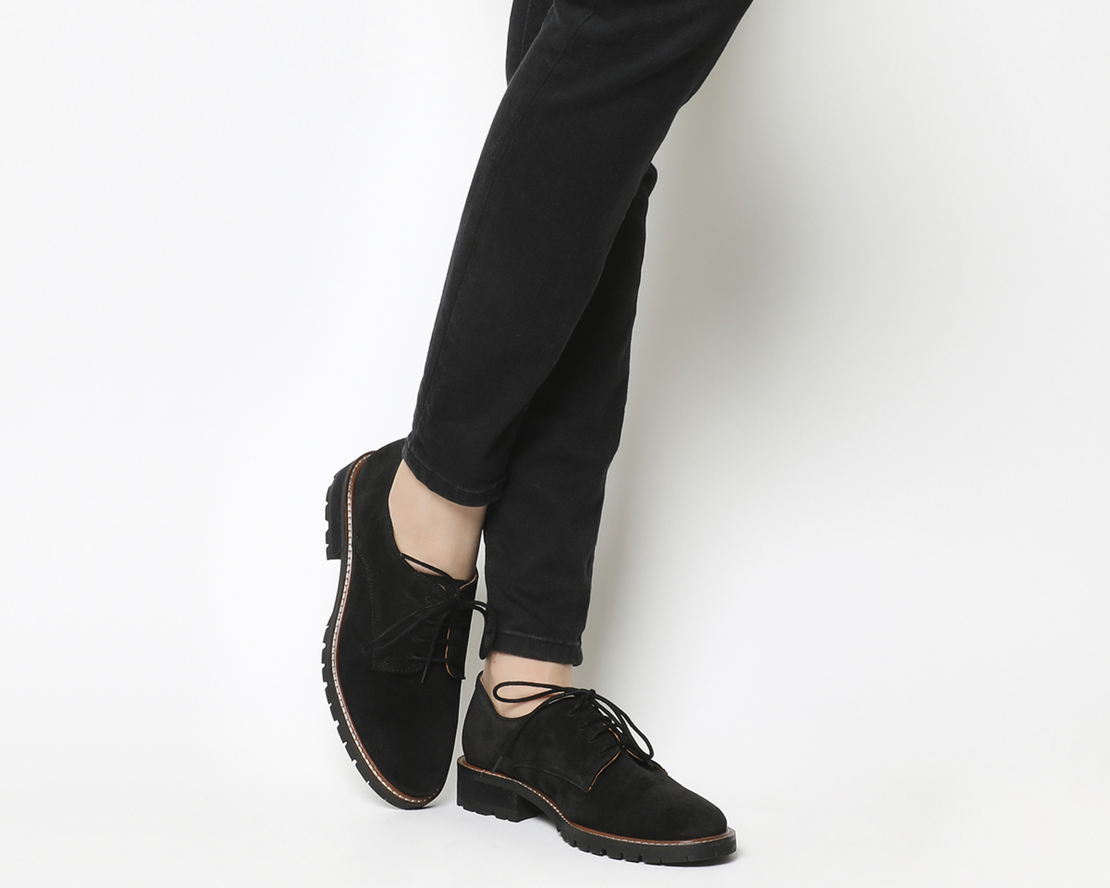 Kennedy Lace Up Shoes Black Suede Flats