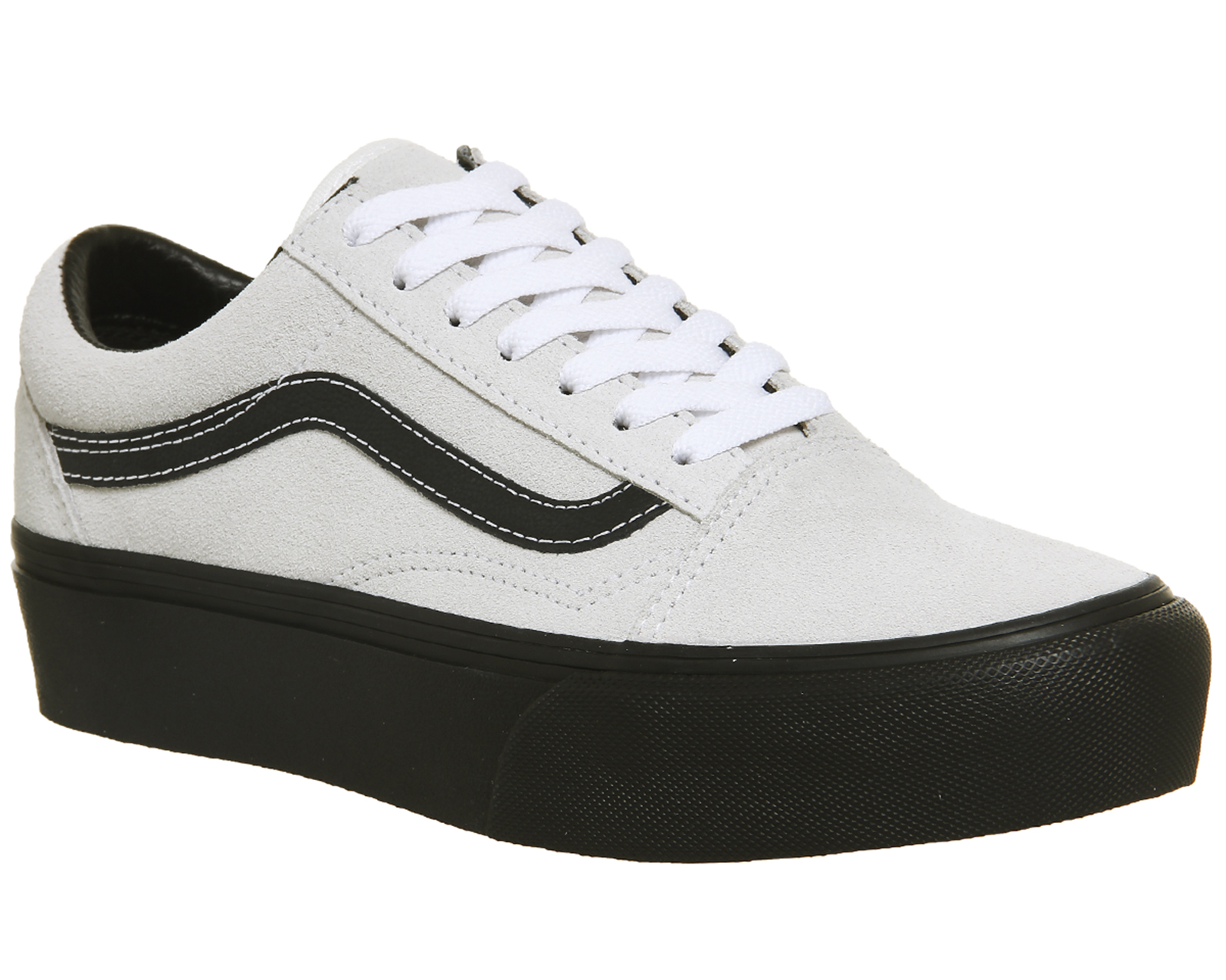 0ab4b30b Sentinel Womens Vans Old Skool Platforms BLANC BLACK Trainers Shoes