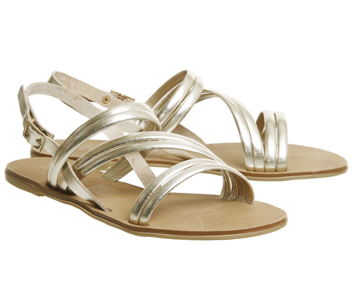 Donna Office Ondulato Asimmetrico Sandaloi con Cinturino Oro Sandaloi