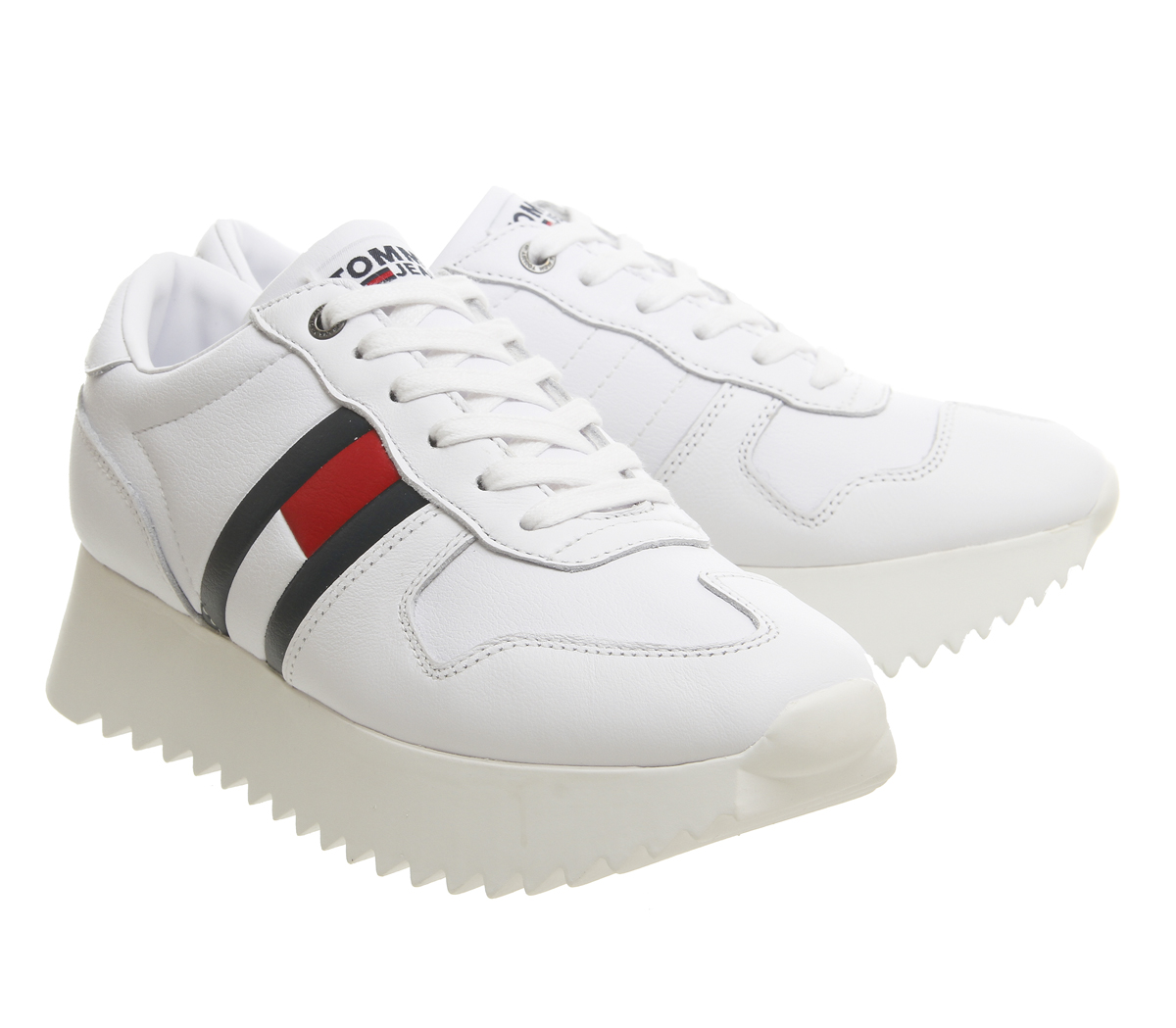 a4d422a575b Para mujer Tommy Hilfiger Alto Cleated Tenis Blanco Rojo Azul ...