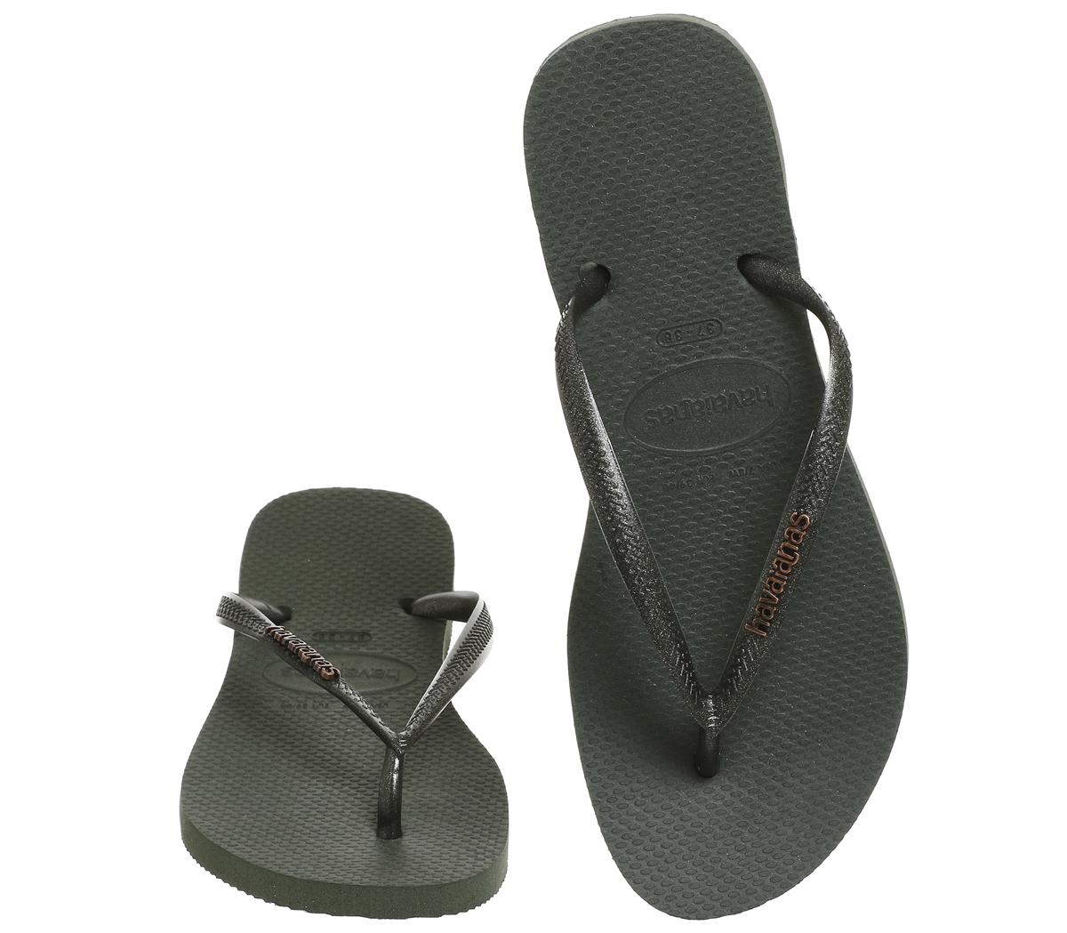 e8c670c02 Womens Havaianas Slim Logo Metallic Flip Flops GREEN OLIVE Sandals ...