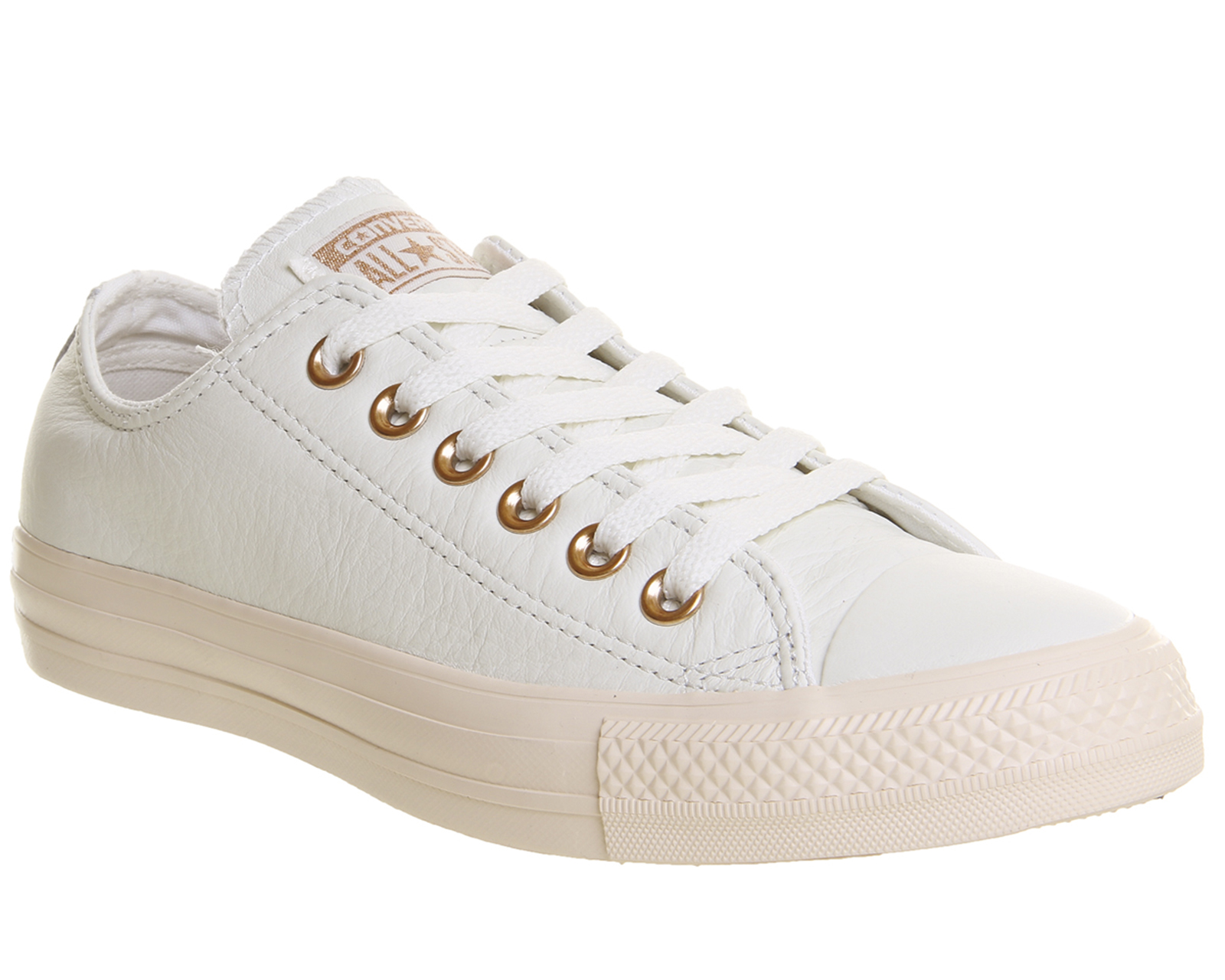 DONNA CONVERSE ALL STAR BASSA IN PELLE PASTELLO ROSA Egret Blush oro Esclusivo