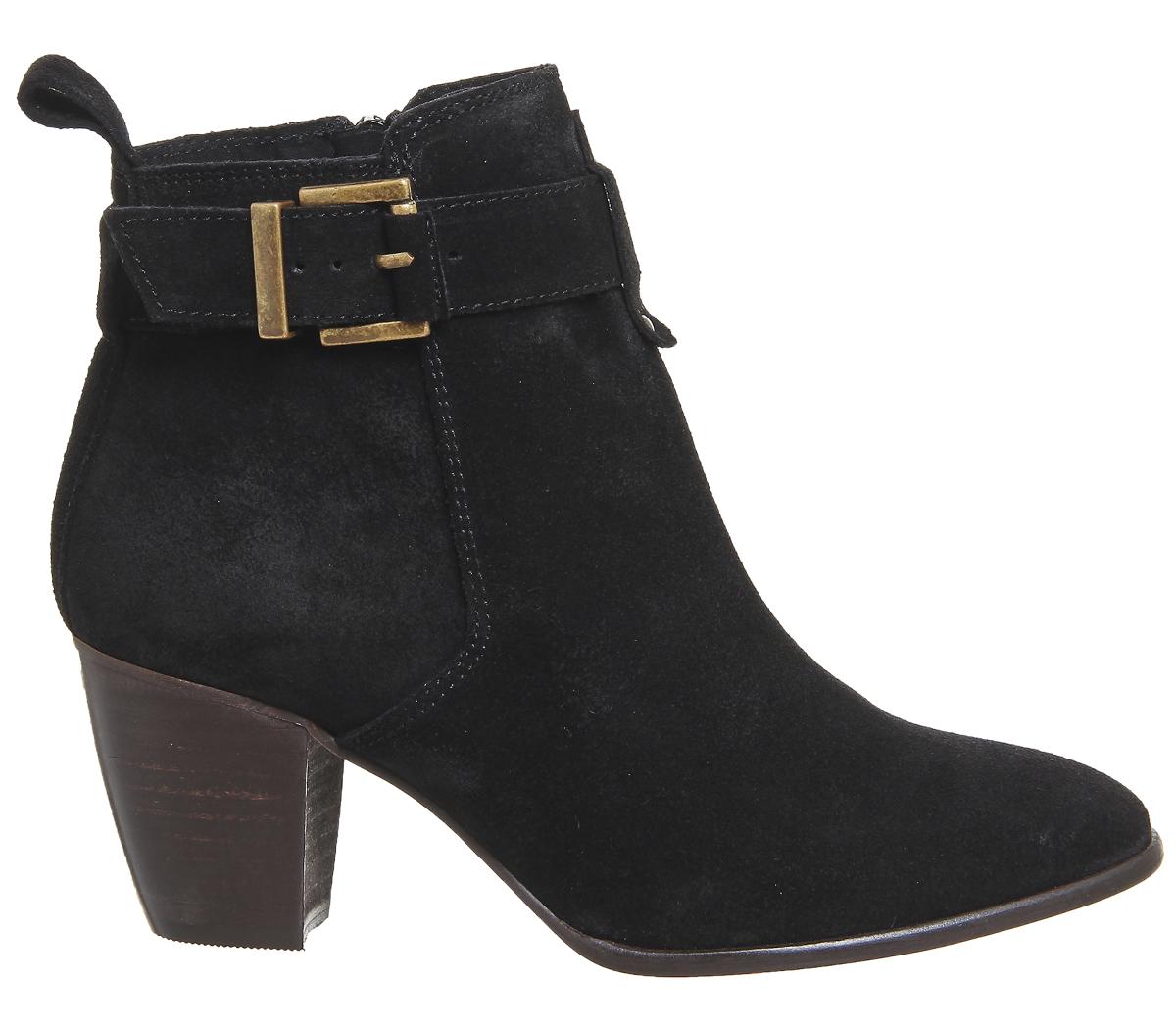 Damenschuhe Office Amelie Buckle Strap Western Stiefel Stiefel Western BLACK SUEDE Stiefel b215a5